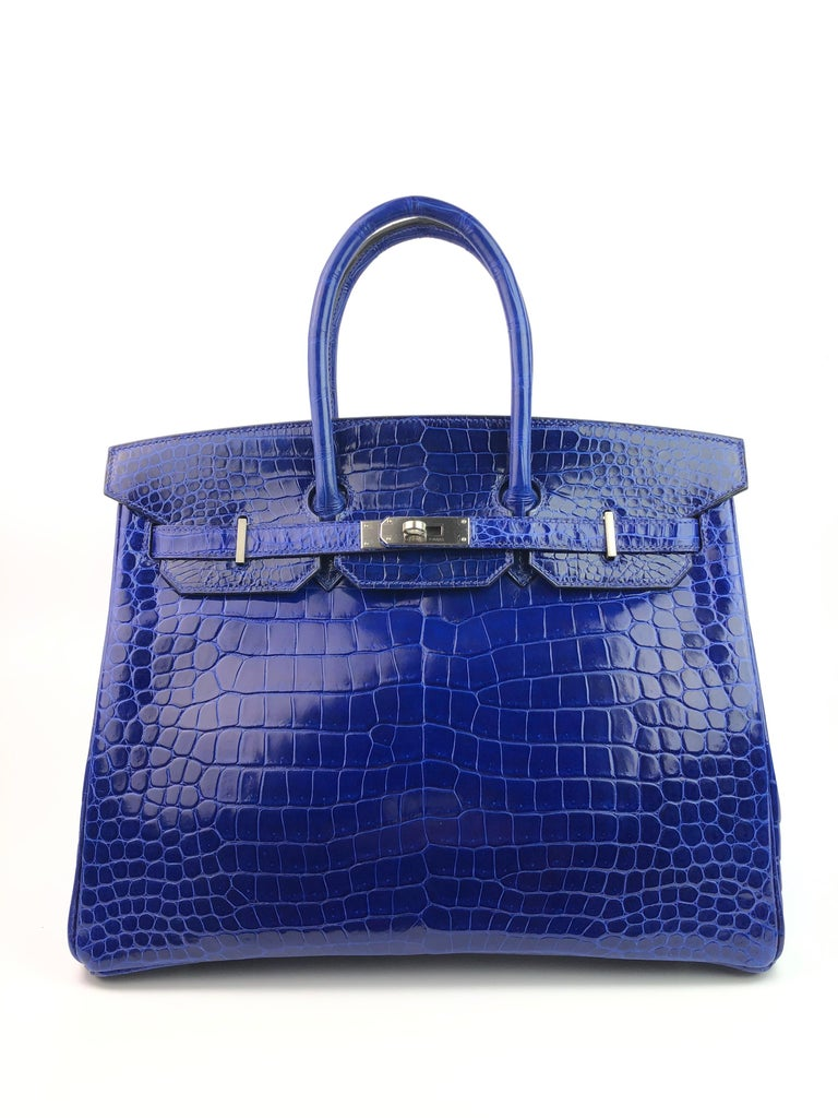 Hermes Birkin 35 HSS Special Oder Blue Electric Rose Tyrien Pink Brushed Palladium Hardware Crocodile. Excellent Pristine Condition, Plastic on Hardware, excellent corners and structure. Best Price on eBay for Special Order! Includes Lock, Clochette