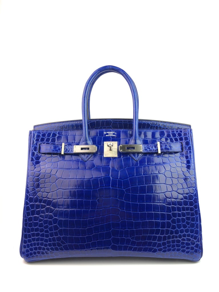 Purple Hermes Birkin 35 HSS Special Order Blue Electric Rose Tyrien Pink Crocodile  For Sale