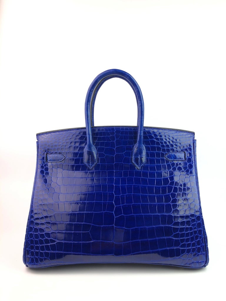 Hermes Birkin 35 HSS Special Order Blue Electric Rose Tyrien Pink Crocodile  In Excellent Condition For Sale In Miami, FL