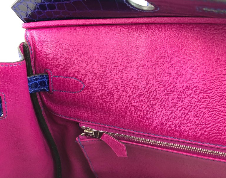 Hermes Birkin 35 HSS Special Order Blue Electric Rose Tyrien Pink Crocodile  For Sale 3