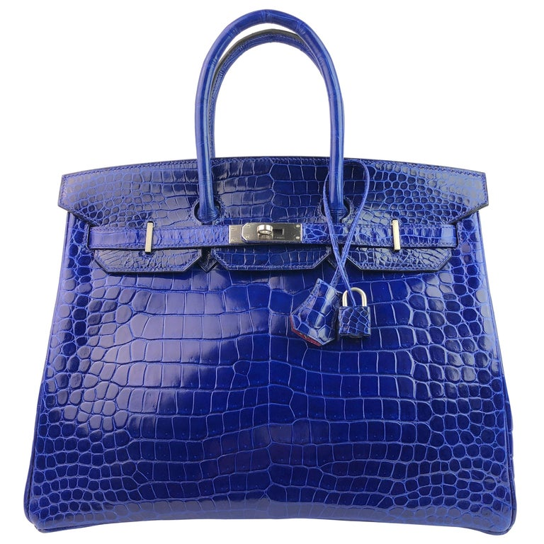 Hermes Birkin 35 HSS Special Order Blue Electric Rose Tyrien Pink Crocodile  For Sale