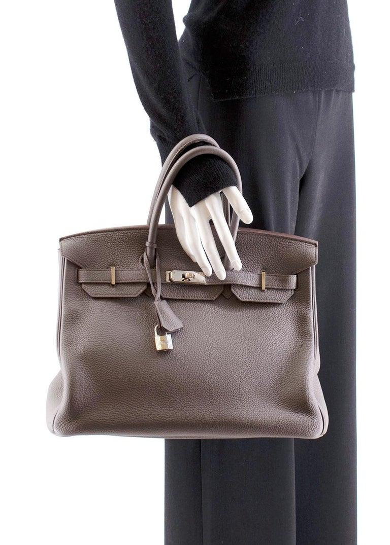 Hermès Birkin 35 in Etain Togo Leather PHW For Sale 5