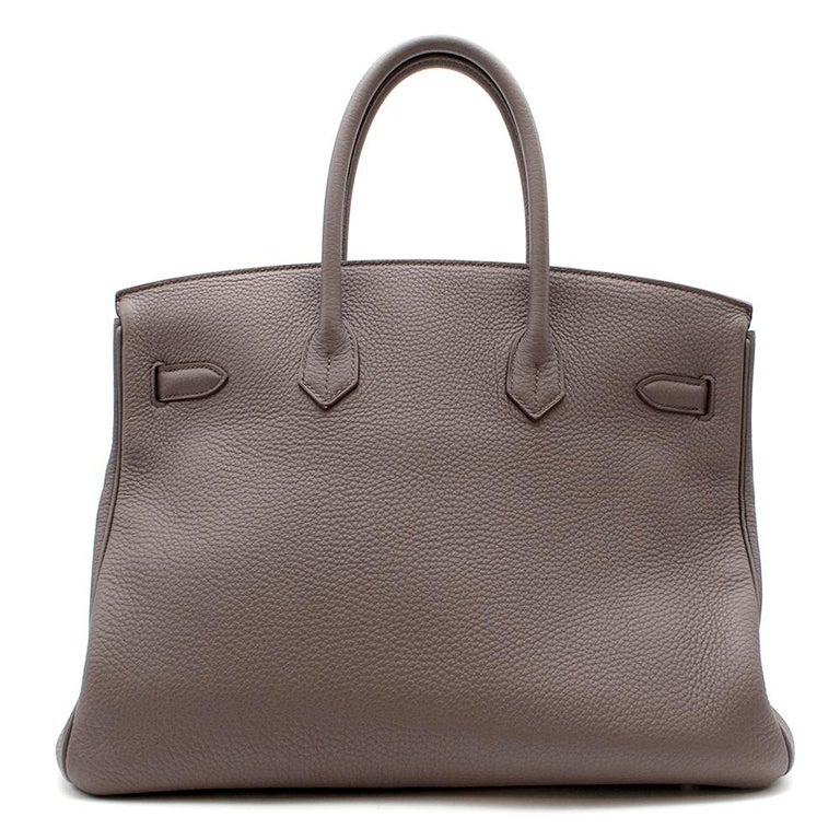 Hermès Birkin 35 in Etain Togo Leather with Palladium Hardware.  2013  Includes Clochette, Lock and Keys.  Size: 35  35 cm x 24 cm x 12 cm