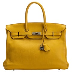 Hermes Birkin 35 Jaune D'Or Clemence Bag