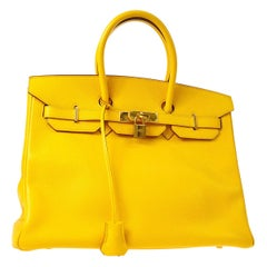 Hermes Birkin 35 Lemon Leather Gold Top Carryall Handle Satchel Travel Tote Bag