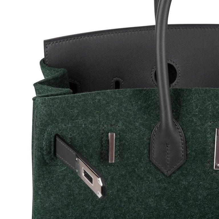 Hermes Birkin 35 Limited Edition Bi-Color Vert Anglais Feutre Vert Cypress Swift For Sale 5