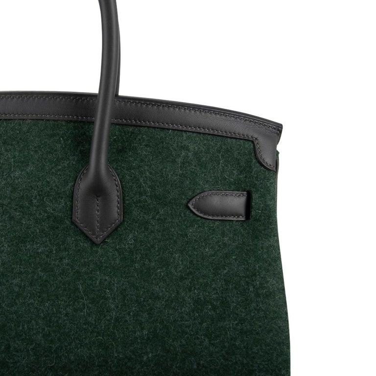 Hermes Birkin 35 Limited Edition Bi-Color Vert Anglais Feutre Vert Cypress Swift For Sale 7