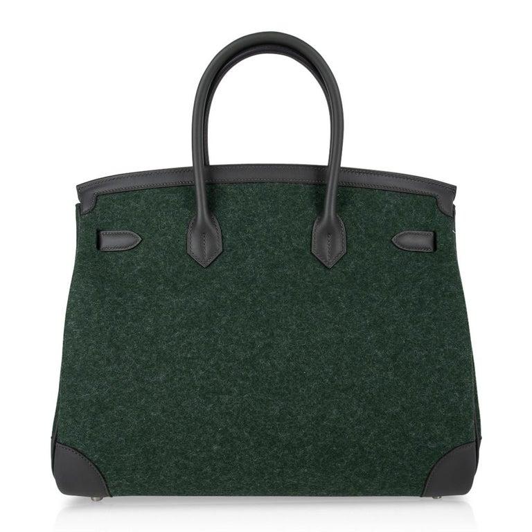 Hermes Birkin 35 Limited Edition Bi-Color Vert Anglais Feutre Vert Cypress Swift For Sale 8