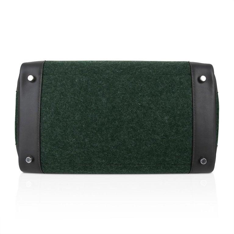 Hermes Birkin 35 Limited Edition Bi-Color Vert Anglais Feutre Vert Cypress Swift For Sale 9