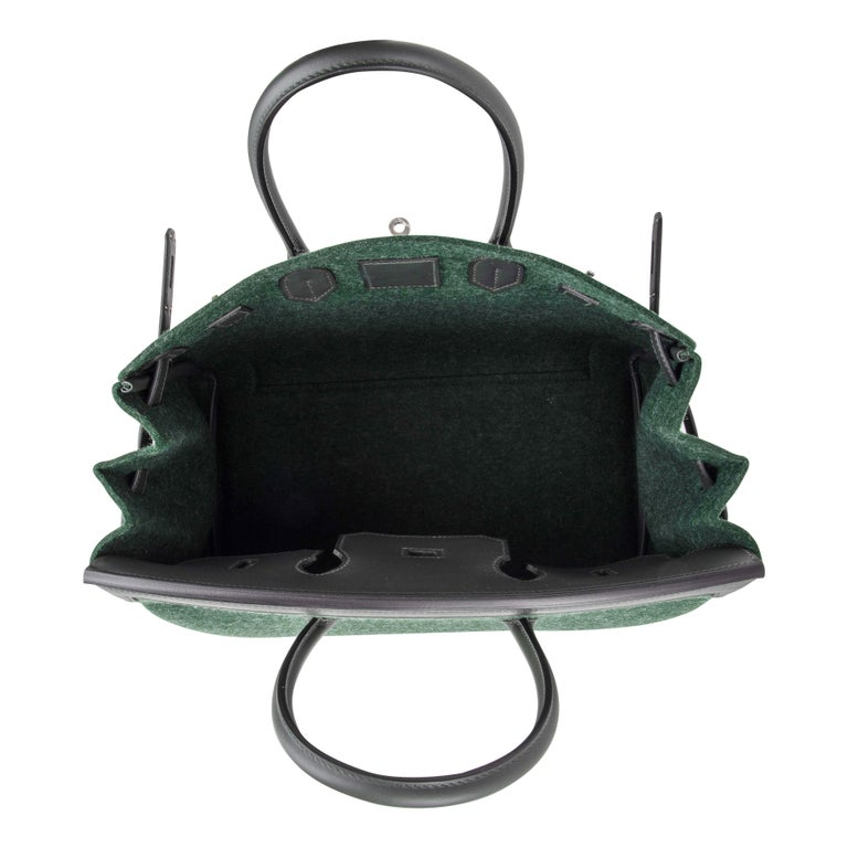 Hermes Birkin 35 Limited Edition Bi-Color Vert Anglais Feutre Vert Cypress Swift For Sale 11