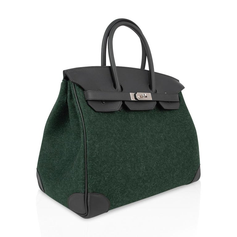 Women's Hermes Birkin 35 Limited Edition Bi-Color Vert Anglais Feutre Vert Cypress Swift For Sale