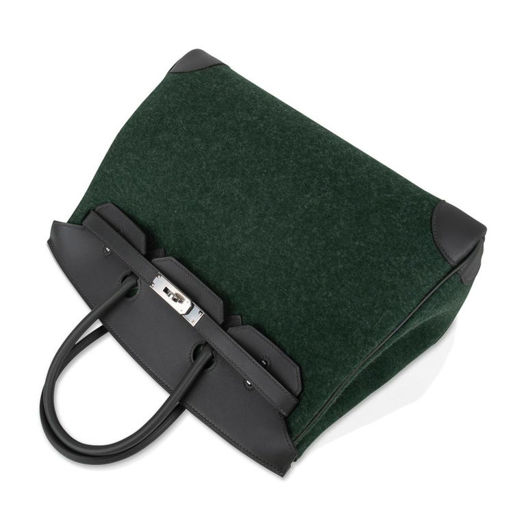 Hermes Birkin 35 Limited Edition Bi-Color Vert Anglais Feutre Vert Cypress Swift For Sale 1