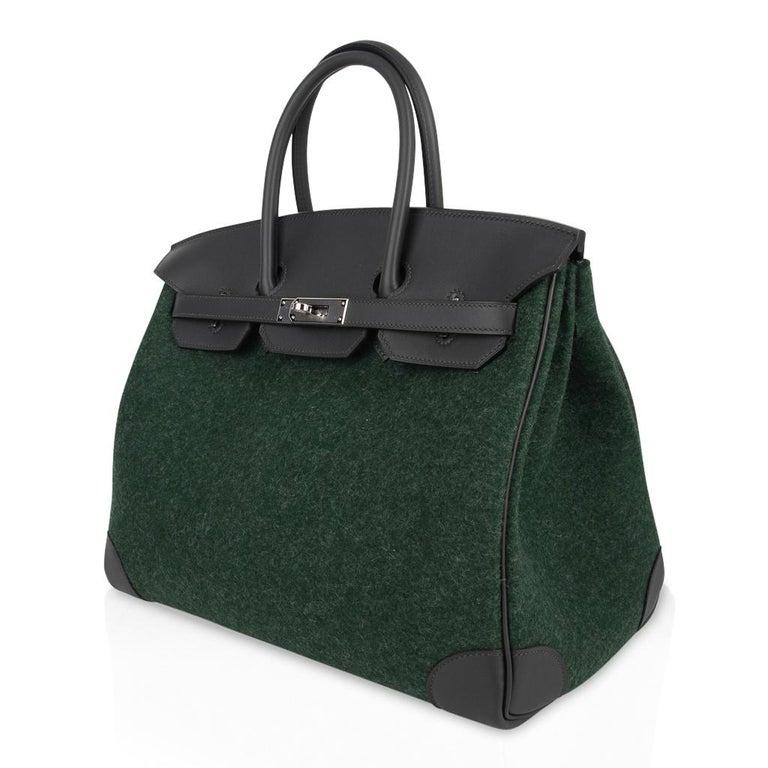 Hermes Birkin 35 Limited Edition Bi-Color Vert Anglais Feutre Vert Cypress Swift For Sale 2