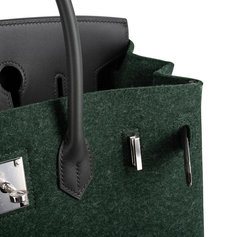 Hermes Birkin 35 Limited Edition Bi-Color Vert Anglais Feutre Vert Cypress Swift For Sale 3