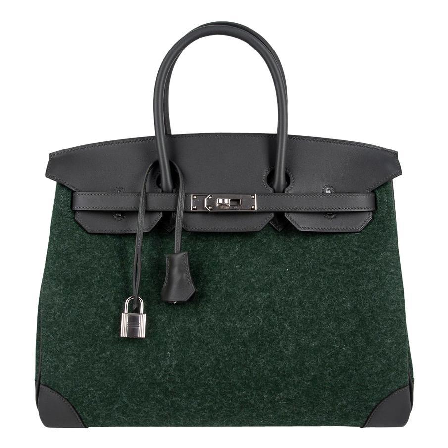 Hermes Birkin 35 Limited Edition Bi-Color Vert Anglais Feutre Vert Cypress Swift