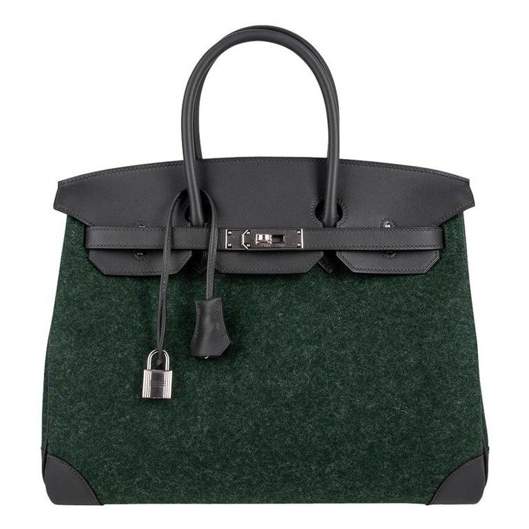 Hermes Birkin 35 Limited Edition Bi-Color Vert Anglais Feutre Vert Cypress Swift For Sale