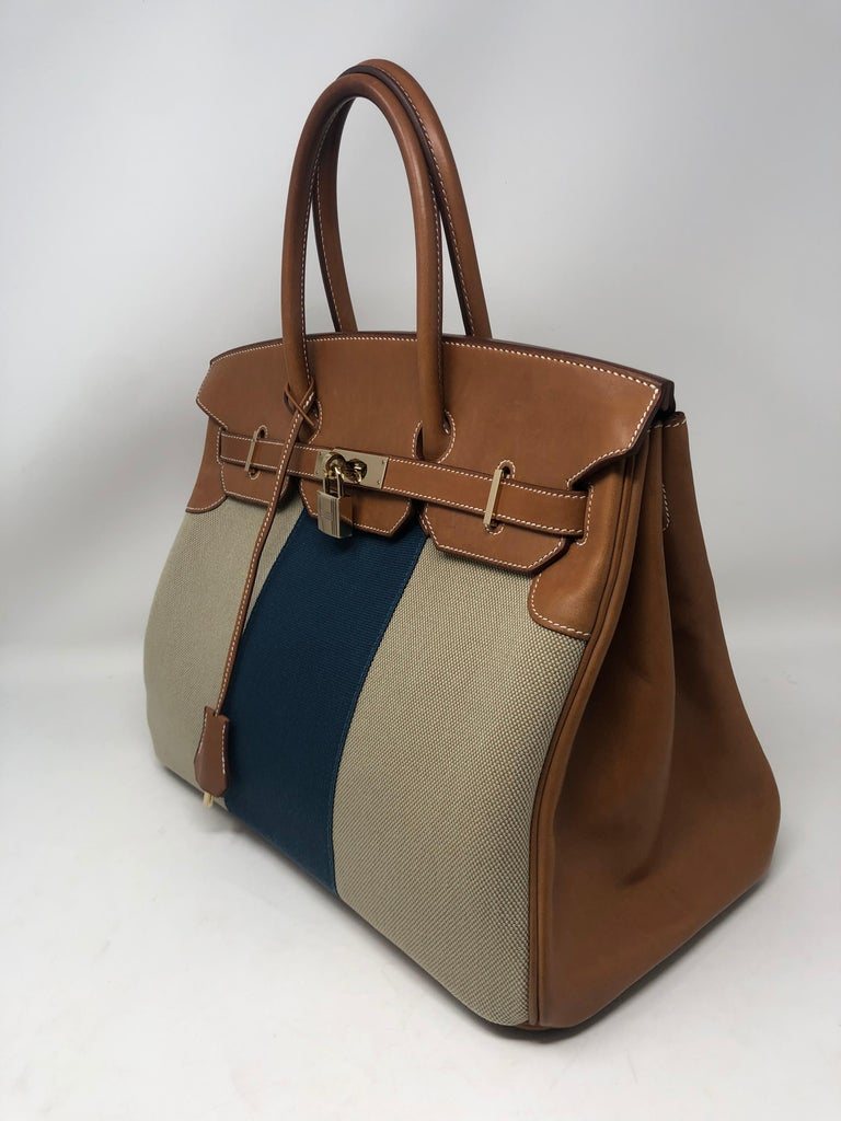 Hermes Birkin Limited Edition. Gold leather with canvas combination. Rare and unique pattern. Gold hardware. Excellent condition. Guaranteed authentic.