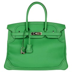 Hermes Birkin 35 Limited Edition Ghillies Bag Rare Bamboo Palladium Hardware