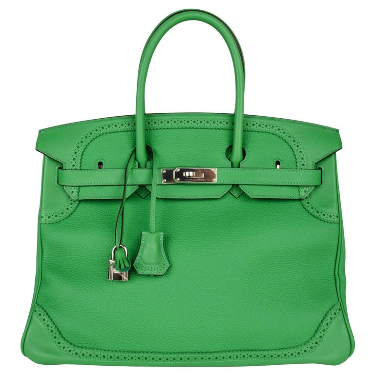 Hermes Birkin 35 Limited Edition Ghillies Bag Rare Bamboo Palladium Hardware For Sale