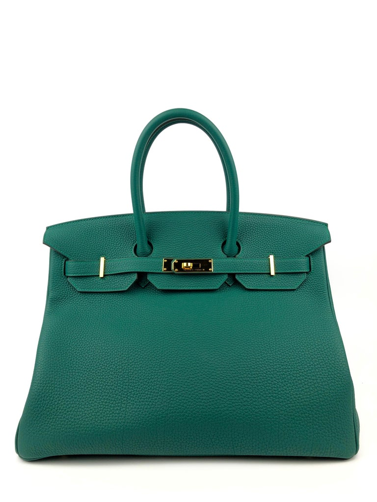 RARE HERMES BIRKIN 35 MALACHITE TOGO GOLD HARDWARE. Pristine Condition light hairlines on hardware excellent corners and structure. X Stamp 2016.  Shop with Confidence from Lux Addicts. Authenticity Guaranteed!