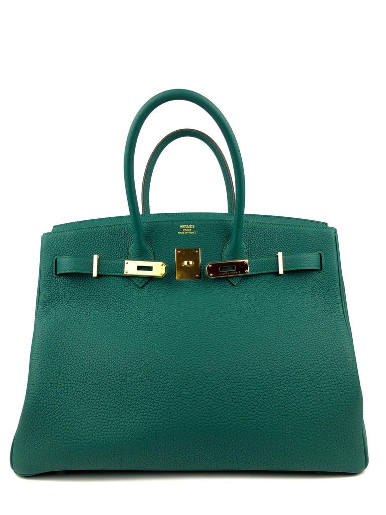 Blue Hermes Birkin 35 Malachite Green Togo Leather Gold Hardware  For Sale