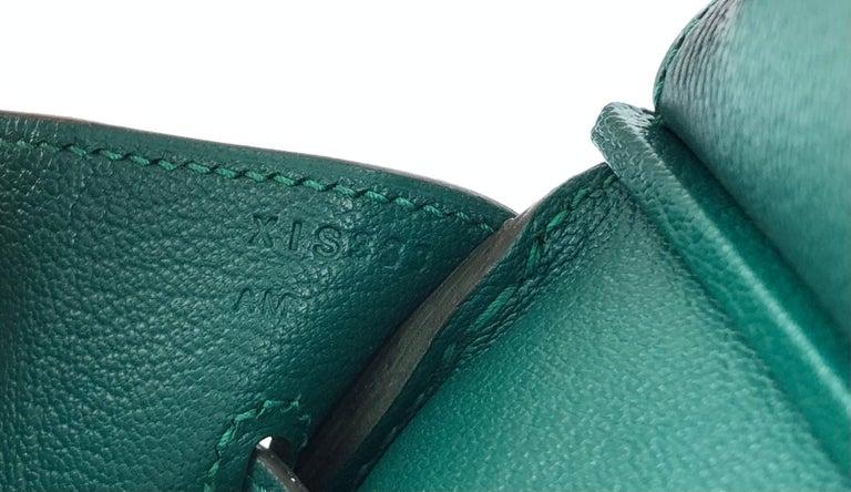 Hermes Birkin 35 Malachite Green Togo Leather Gold Hardware  For Sale 1