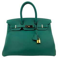 Hermes Birkin 35 Malachite Green Togo Leather Gold Hardware