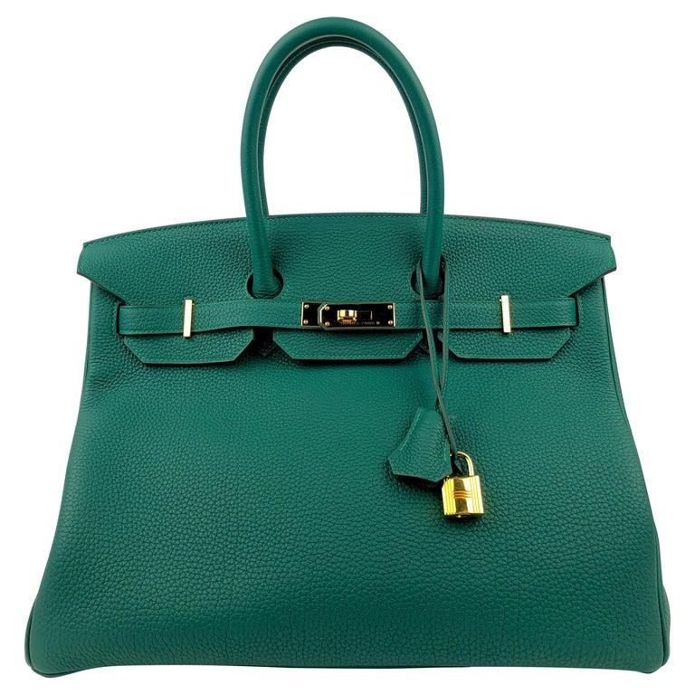 Hermes Birkin 35 Malachite Green Togo Leather Gold Hardware  For Sale
