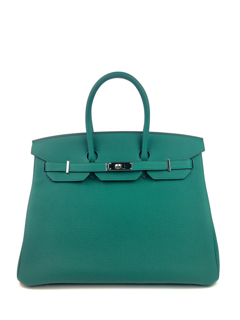 RARE HERMES BIRKIN 35 MALACHITE TOGO PALLADIUM HARDWARE. Pristine condition, light hairlines on hardware perfect corners and perfect structure.   Shop with Confidence from Lux Addicts. Authenticity Guaranteed!