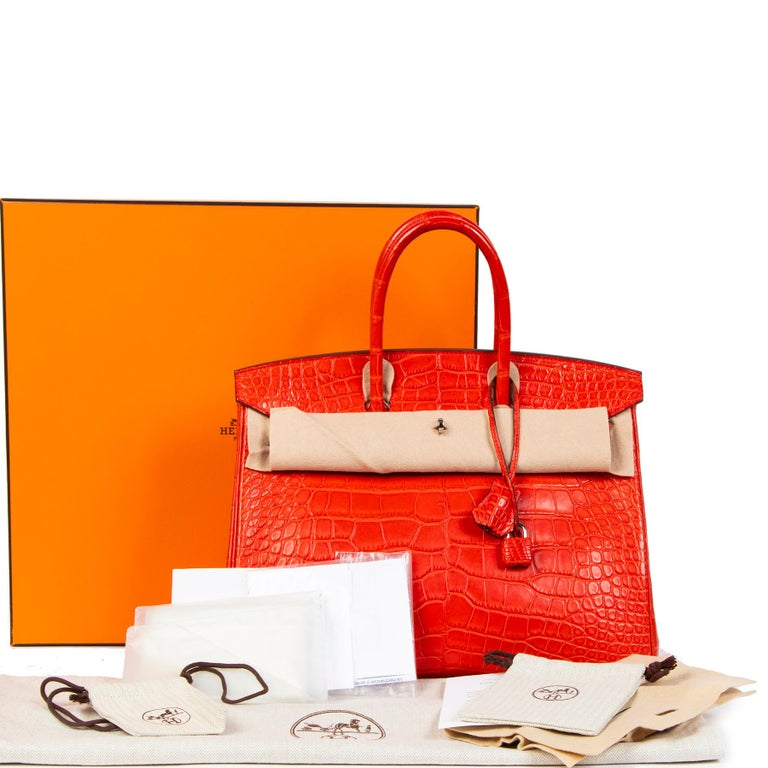Hermès Birkin 35 Matt Alligator Geranium PHW  Geranium was a colour from the 2012 Spring Summer collection. Named after a flower that was found in the tropical South Africa regoin, this vibrant red resembles a flaming red earth! A classic, inviting