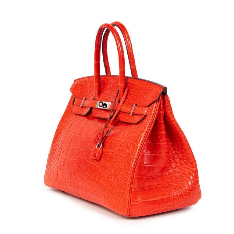 Red Hermès Birkin 35 Matt Alligator Geranium PHW  For Sale
