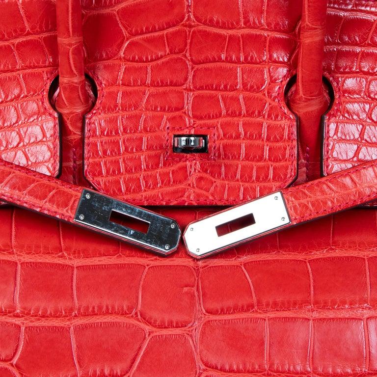 Hermès Birkin 35 Matt Alligator Geranium PHW  For Sale 1