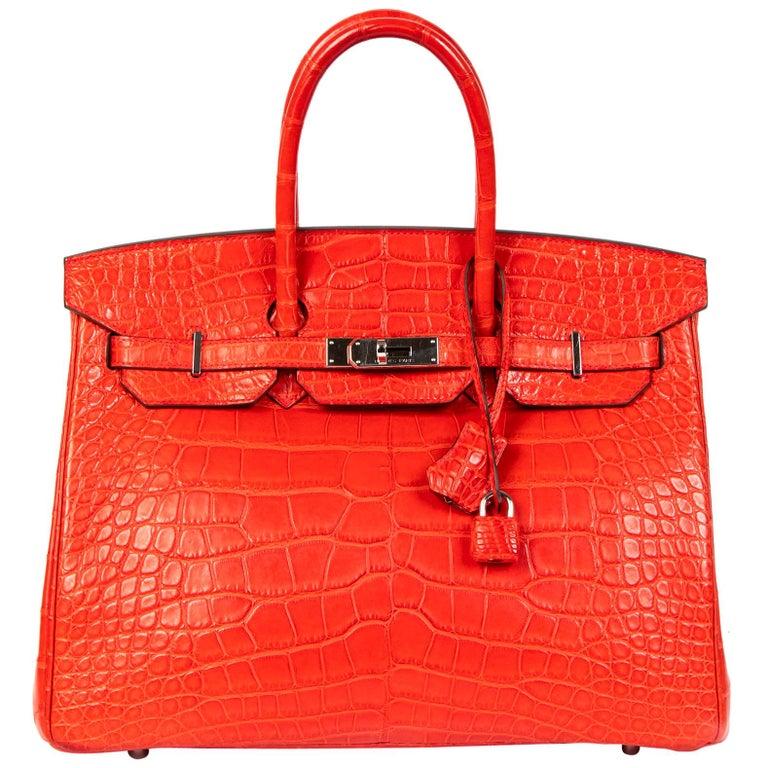 Hermès Birkin 35 Matt Alligator Geranium PHW  For Sale