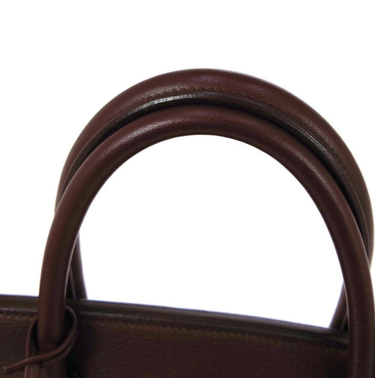 Hermes Birkin 35 Milk Chocolate Brown Gold Top Handle Satchel Tote Bag In Good Condition For Sale In Chicago, IL