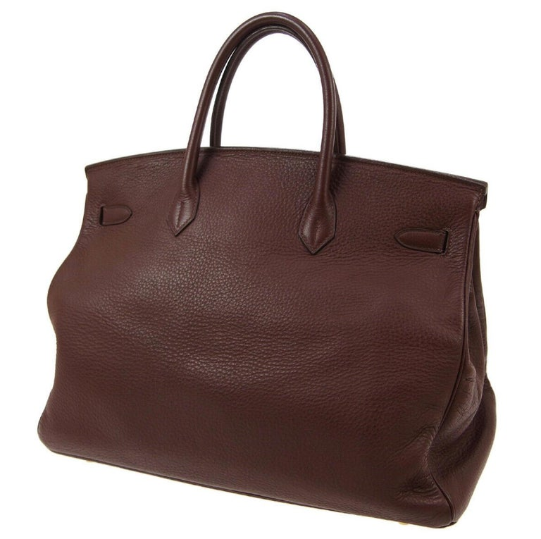 Women's Hermes Birkin 35 Milk Chocolate Brown Gold Top Handle Satchel Tote Bag For Sale