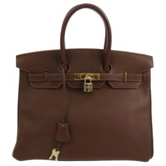 Hermes Birkin 35 Milk Chocolate Brown Gold Top Handle Satchel Tote Bag
