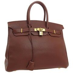 Hermes Birkin 35 Milky Chocolate Brown Gold Top Handle Satchel Tote Bag