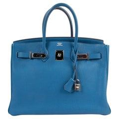 Hermès Birkin 35 Mykonos Blue Togo Leather PHW