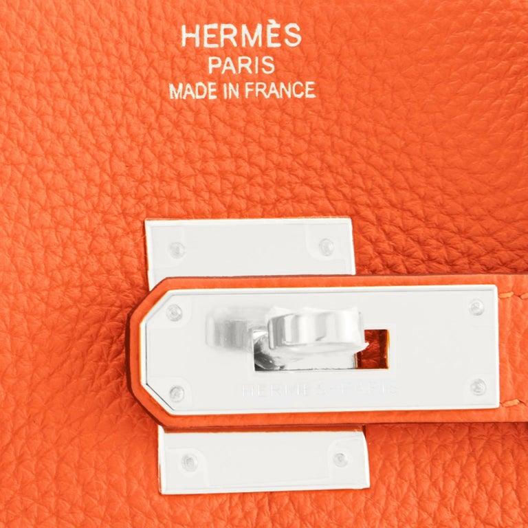 Hermes Birkin 35 Orange Feu Togo Palladium Hardware Bag NEW 5