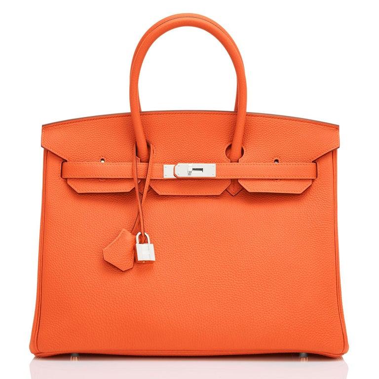 Red Hermes Birkin 35 Orange Feu Togo Palladium Hardware Bag NEW