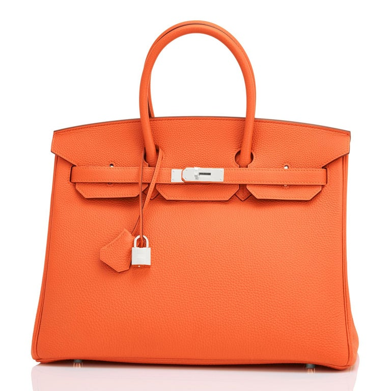 Hermes Birkin 35 Orange Feu Togo Palladium Hardware Bag NEW In New Condition In New York, NY