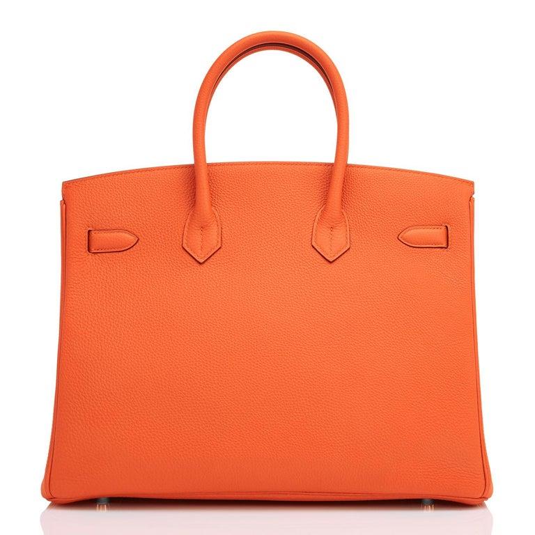 Women's or Men's Hermes Birkin 35 Orange Feu Togo Palladium Hardware Bag NEW