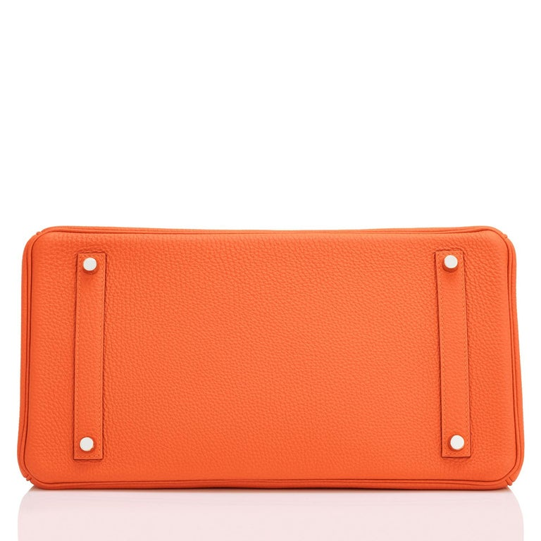 Hermes Birkin 35 Orange Feu Togo Palladium Hardware Bag NEW 2