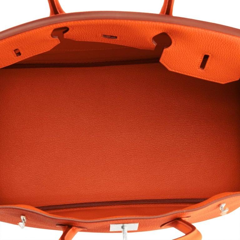 Hermes Birkin 35 Orange Feu Togo Palladium Hardware Bag NEW 3