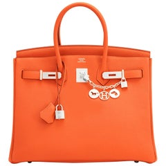 Hermes Birkin 35 Orange Feu Togo Palladium Hardware Bag NEW