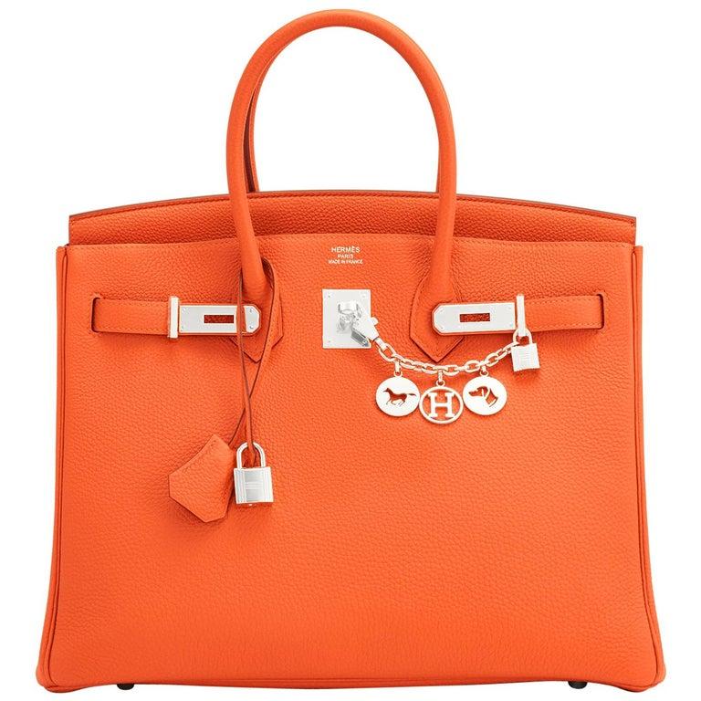 Hermes Birkin 35 Orange Feu Togo Palladium Hardware Bag NEW