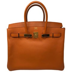 Hermes Birkin 35 Orange Gold Hardware Bag