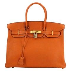 Hermes Birkin 35 Orange Leather Gold Carryall Top Handle Satchel Tote