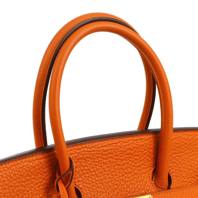 Hermes Birkin 35 Orange Leather Gold Top Handle Satchel Travel Tote Bag in Box In Excellent Condition For Sale In Chicago, IL