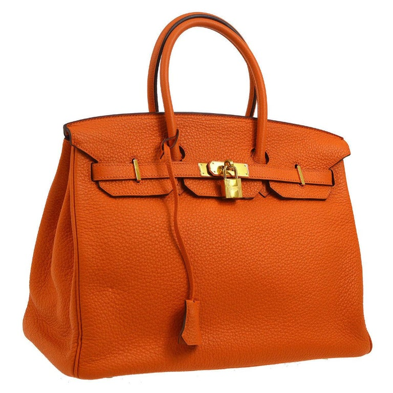 Women's Hermes Birkin 35 Orange Leather Gold Top Handle Satchel Travel Tote Bag in Box For Sale